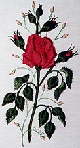 Mom's Garden Rose Brazilian Embroidery pattern stitched with EdMar rayon Brazilian Embroidery thread