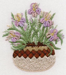 Irises In Pottery- Brazilian Embroidery pattern