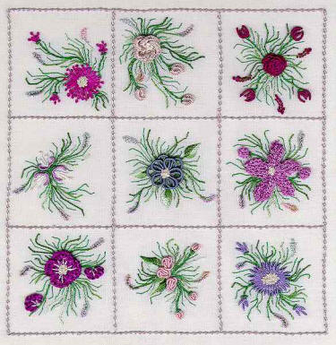 Brazilian Embroidery Design  Nine Flower Sampler ED 1821