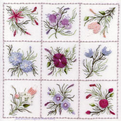 Brazilian Embroidery Design Nine Flower Sampler #2