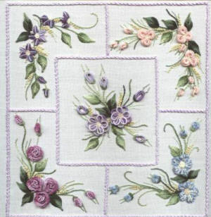 Brazilian Embroidery Design Five Flower Sampler