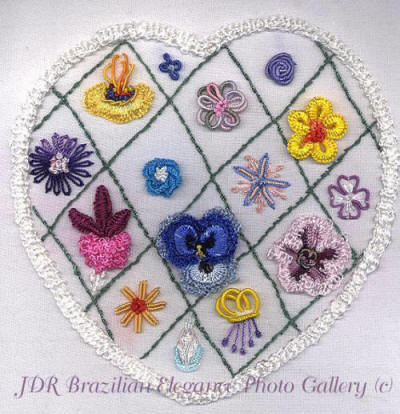 Brazilian Embroidery Heart Flower Sampler