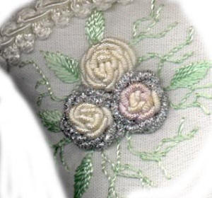 Brazilian  Embroidery Pattern Rose Marie's Boot close up
