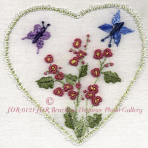 JDR 6121 Heart with Hollyhocks & Butterflies