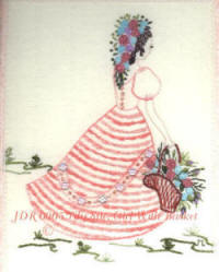 Brazilian Embroidery Design JDR 6005 Lily Sue/Girl with Basket