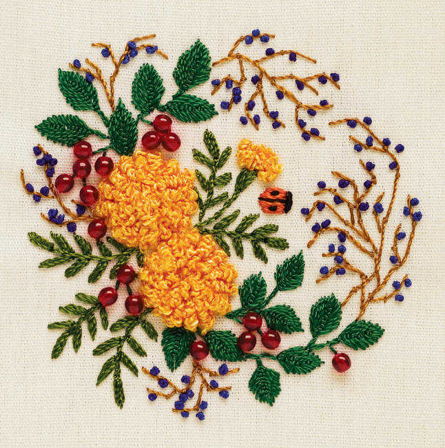 Ribbon embroidery designs for bed sheet - Hand Stitched Kitchen Design Embroidery Embroidery Designs