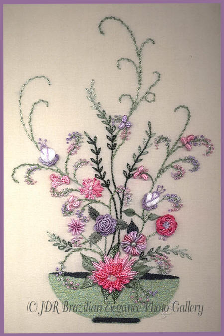Brazilian Embroidery Bowl of Flowers 3-dimensional flowers JDR 150